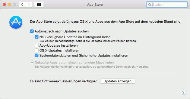 Mac App-Store Einstellungen