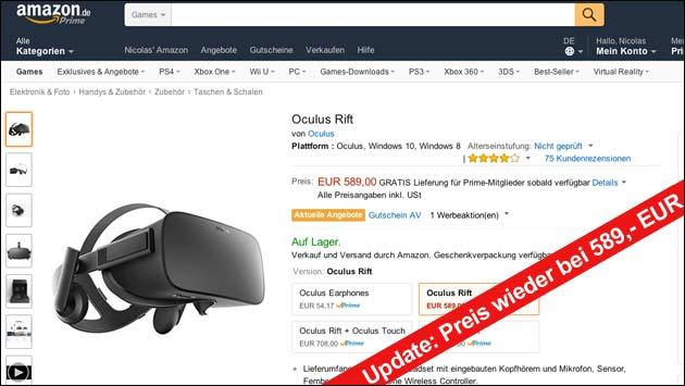 Angebot: Oculus Rift zeitweise ab 499,- EUR!