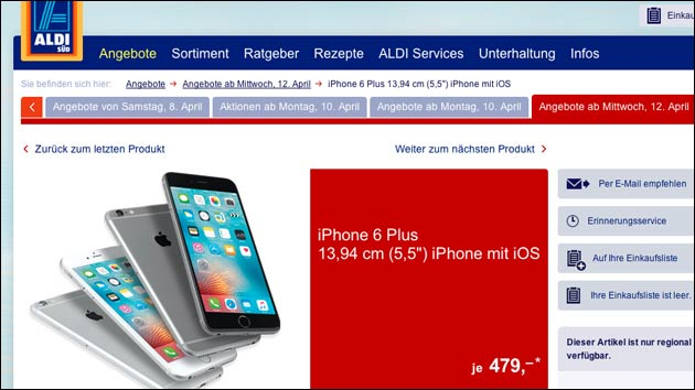 iPhone 6 Plus bei Aldi Süd!