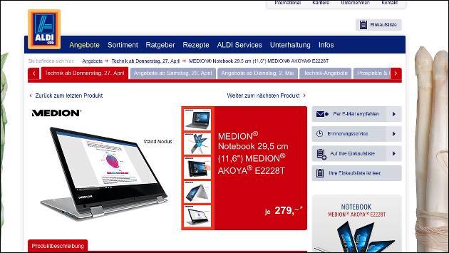 Aldi bringt Notebook-Schnäppchen: Medion Akoya E2228T!