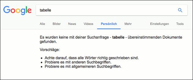 Update Google Suche: Persönlich