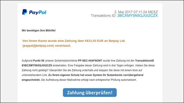 vorsicht paypal phishing ihr nutzerkonto wurde eingeschr nkt. Black Bedroom Furniture Sets. Home Design Ideas