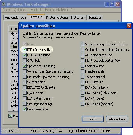 PID Windows Prozess-ID anzeigen
