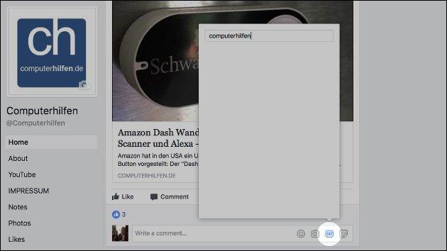 Der GIF-Button kommt jetzt auch in die Facebook-Kommentare