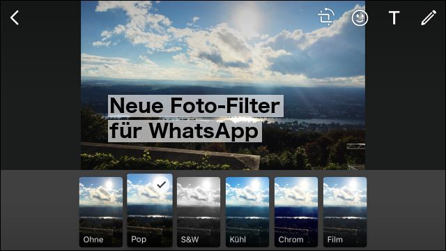IOS: WhatsApp-Update bringt Foto-Filter