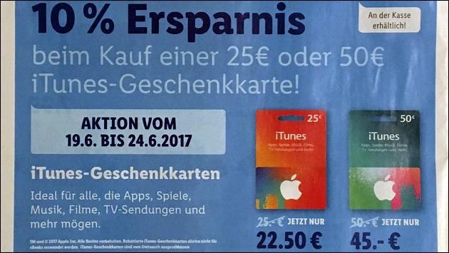 iTunes Rabatt: iTunes Karten 10 Prozent billiger