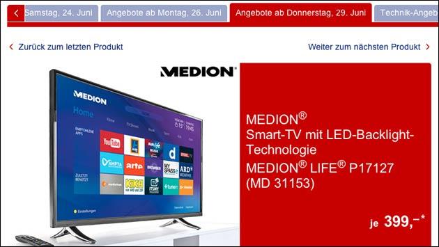 heute bei aldi smart tv medion p17127 md 31153 f r 399. Black Bedroom Furniture Sets. Home Design Ideas
