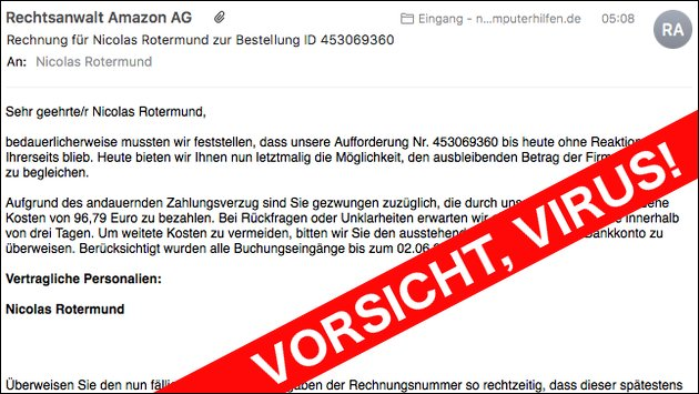 Virus Rechtsanwalt Amazon AG