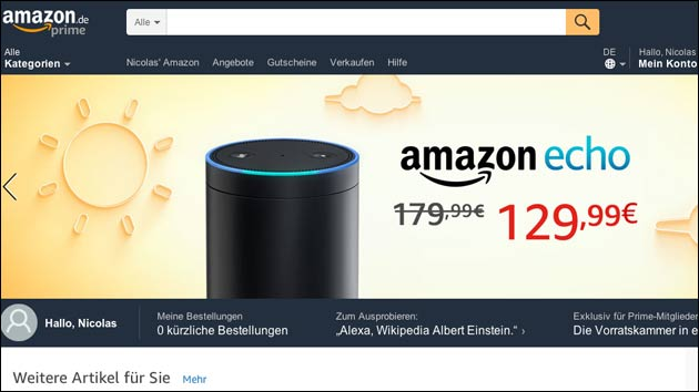 Amazon Echo im Angebot: Alexa