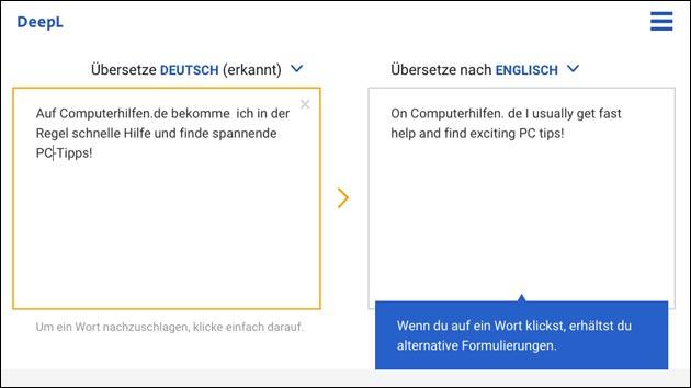 Deepl Online Übersetzungs-Tool