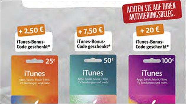 Rabatt: iTunes Karten mit Extra-Guthaben