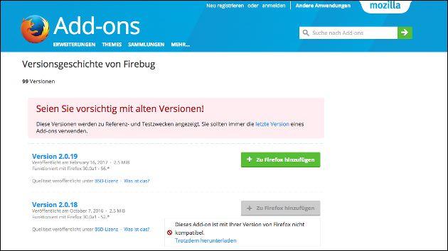 Firebug im Firefox