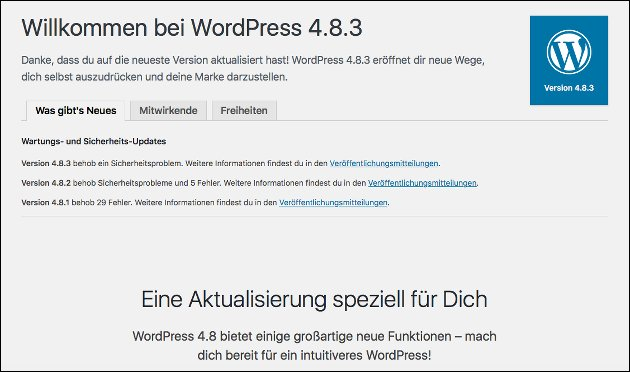Wordpress Update 4.8.3