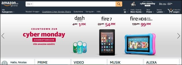 Amazon Countdown zur Cyber Monday Woche