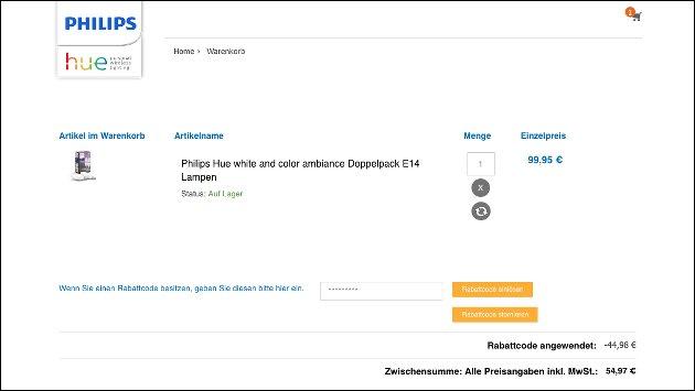Philips hue Gutschein-Code