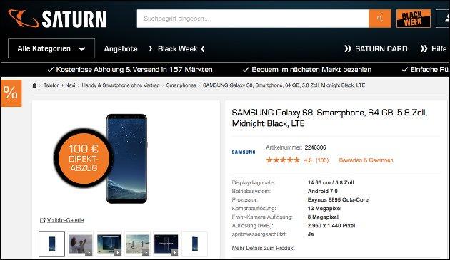 Samsung Galaxy S8 für 499,- EUR