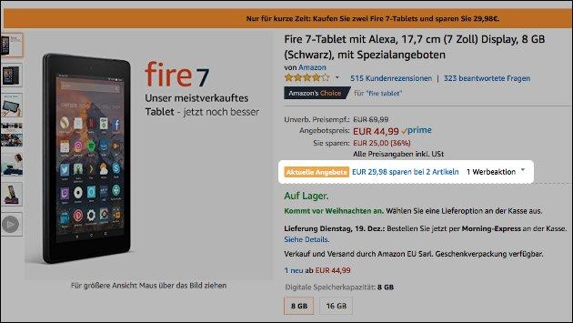 Amazon Tablet Schnäppchen