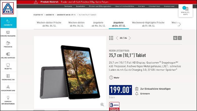 donnerstag bei aldi nord android tablet medion lifetab p10606 f r 199 eur. Black Bedroom Furniture Sets. Home Design Ideas
