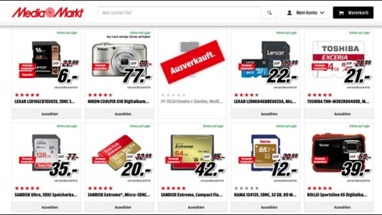 Mediamarkt Sd Karte.Foto Nacht Ab Acht Kameras Und Speicherkarten Im Angebot