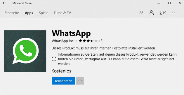 WhatsApp App im Windows Store