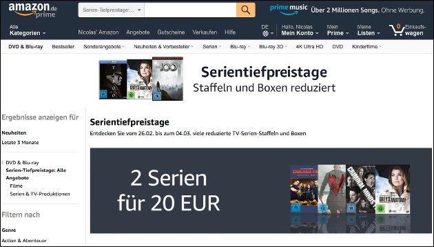 Amazon Serien-Angebote: Serientiefpreistage