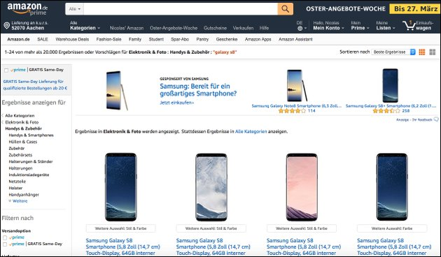 Samsung Galaxy S8 Angebot