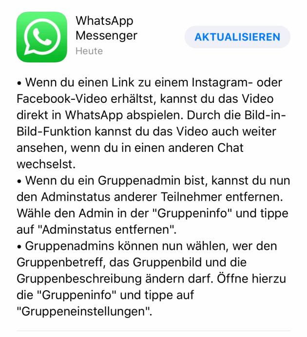 Neues WhatsApp Update
