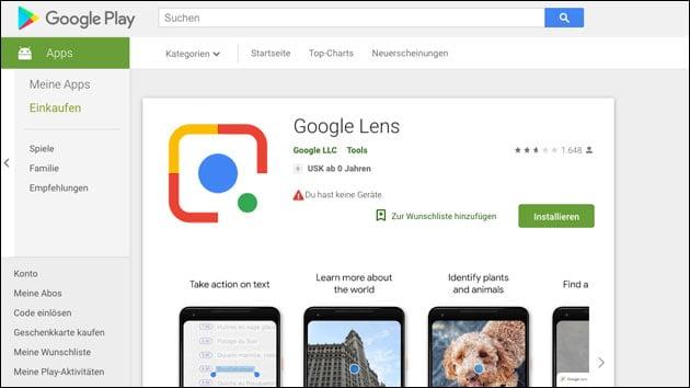Google Lens im PlayStore