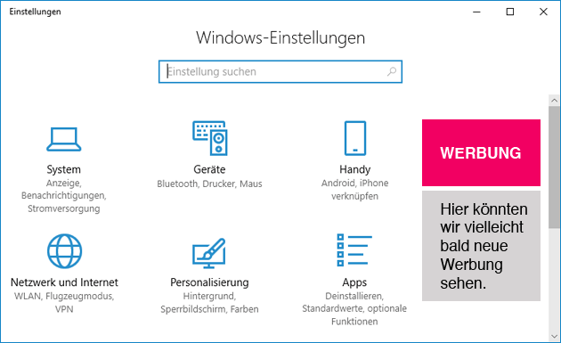 Windows 10 Werbung in den Einstellungen