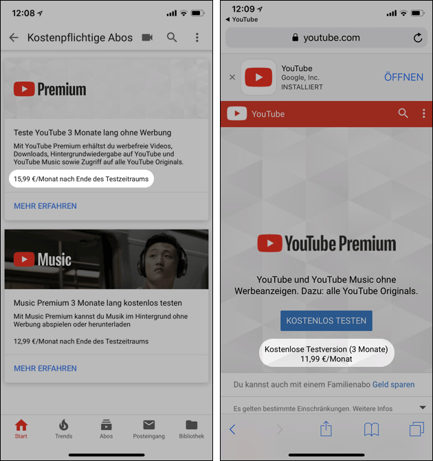 YouTube Premium iPhone billiger