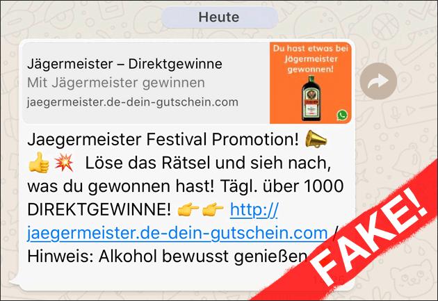 Jägermeister Gewinnspiel Whatsapp