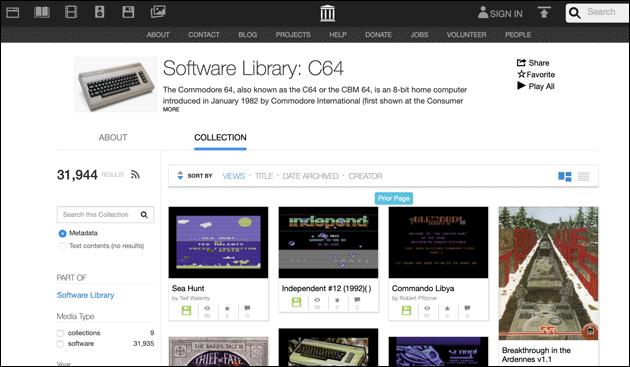 C64 Spiele im Internet Archive