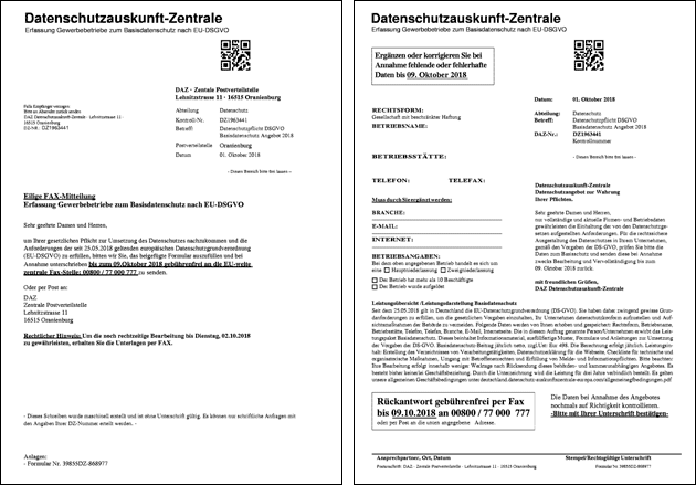 Fax Datenschutz-Auskunft