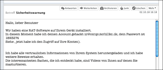 Email Sicherheitswarnung
