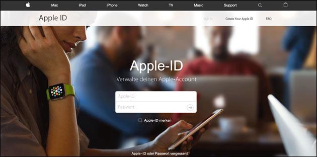 Gefälschte Apple Webseite