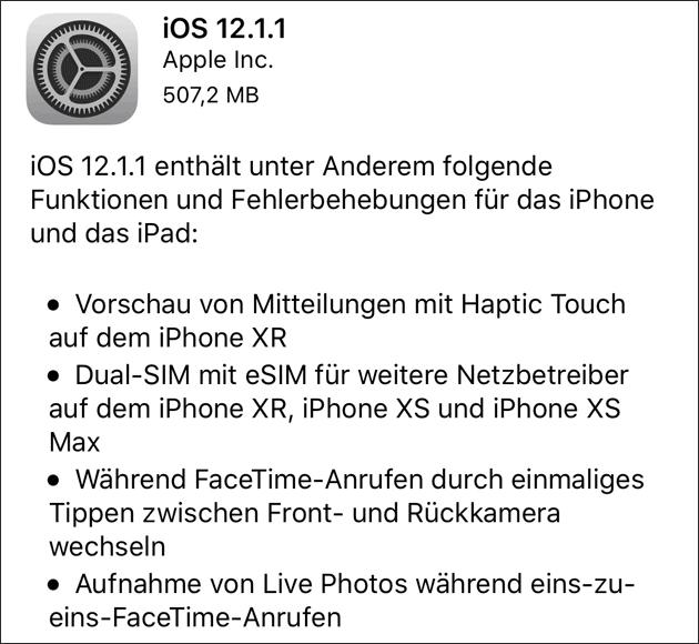 iOS Update 12.1.1