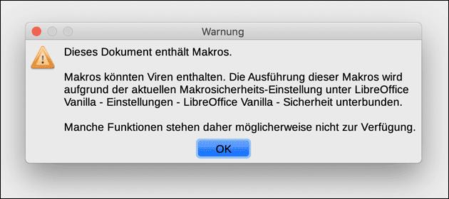 Makro Warnung LibreOffice