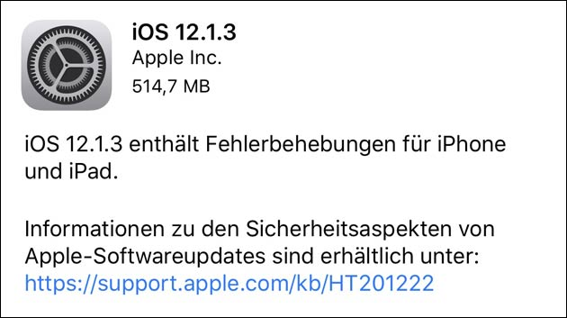 Apple iOS Update 12.1.3