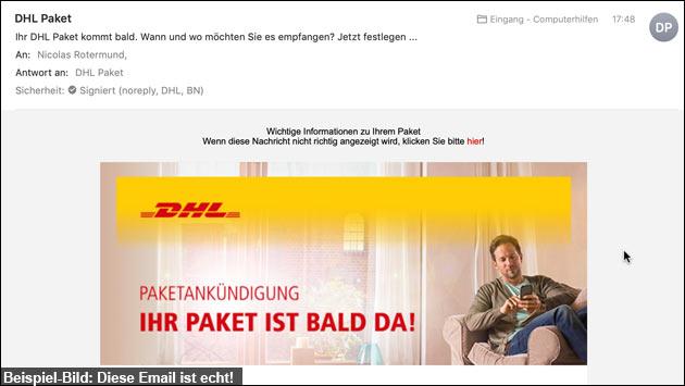 DHL Email: Paket-Benachrichtigung