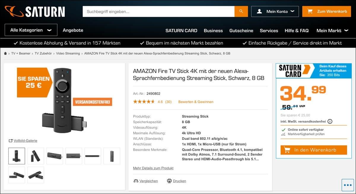 fire tv stick 4k stick mit alexa sprachfernbedienung im angebot. Black Bedroom Furniture Sets. Home Design Ideas