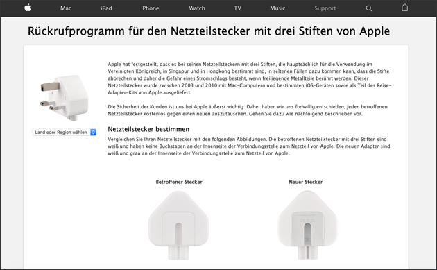 Apple Stecker Netzteil Rückruf