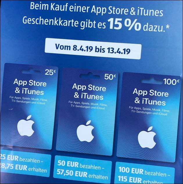 Extra-Guthaben auf iTunes Karten