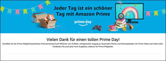 Prime Day Seite: Vielen Dank