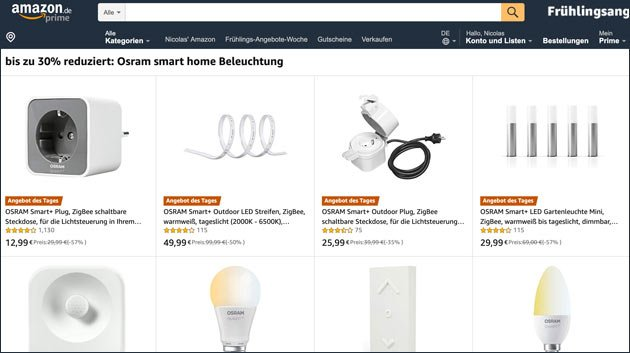 smart home angebote heute bei amazon. Black Bedroom Furniture Sets. Home Design Ideas