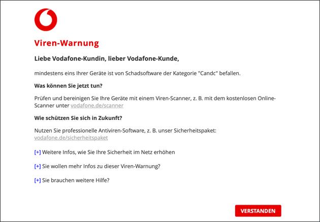 Vodafone Candc Viren-Warnung
