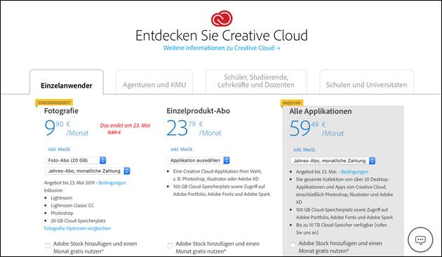 Adobe CC Foto-Abo Angebot