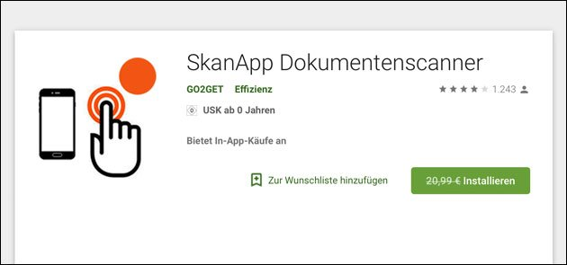 android scanapp aktuell kostenlos so spart 20 99 eur