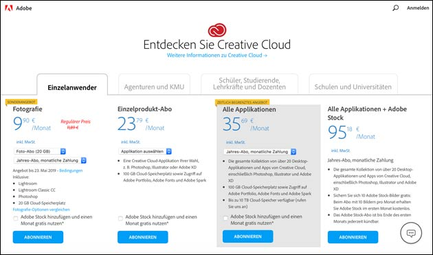 Adobe Creative Cloud Abo Angebot