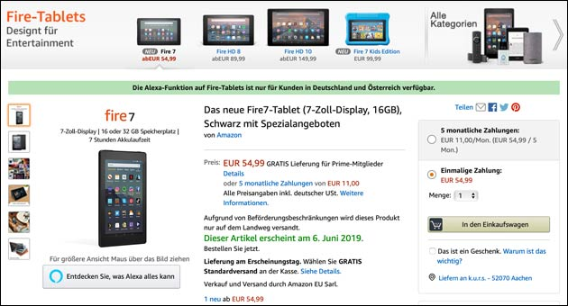 Fire Tablet mit 7