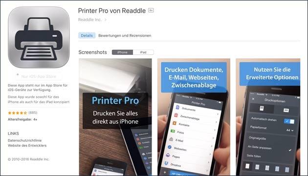 Drucker App Printer Pro kostenlos (iPhone)